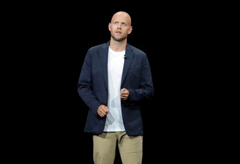 Daniel Ek, CEO of Spotify speaks at a Samsung product launch event in Brooklyn