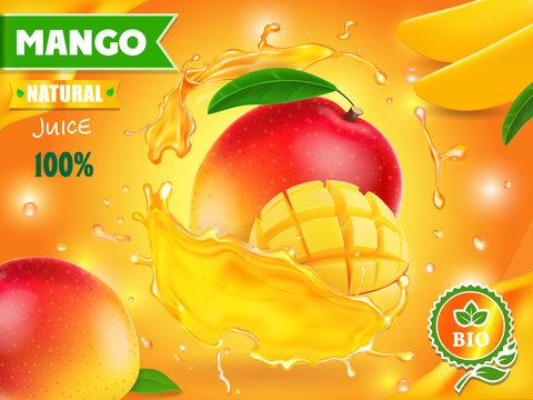 Mango juice advertising. Tropical fruit drink package design
