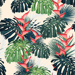 Dark and bright tropical leaves with jungle plants. Seamless vector tropical pattern with green palm and monstera leaves and heliconia flowers. Light background.