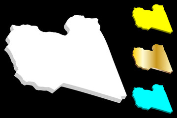 3D map of Libya (State of Libya) - white, yellow, blue and gold - vector illustration