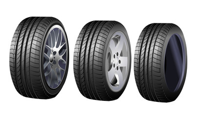Wheels and tires vector set isolated on white for transport or service design