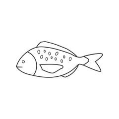 Fish icon in black flat outline design