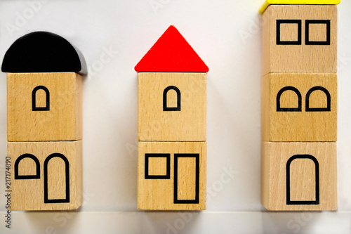 Terrific Small Toy Houses Made Of Wooden Blocks With Painted Windows Home Interior And Landscaping Mentranervesignezvosmurscom