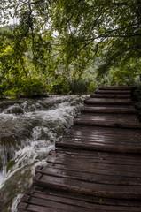Croazia, 28/06/2018: una passerella di legno nel Parco nazionale dei laghi di Plitvice, uno dei parchi più antichi dello stato al confine con la Bosnia Erzegovina