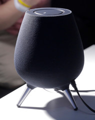 The new Samsung Home smart speaker is seen during a product launch event in Brooklyn