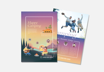 Flyer Layout With Camping Themed Illustration