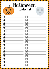 Halloween to do list.Preparing to the holiday of all saints. Vector Illustration. Symbols of Halloween.