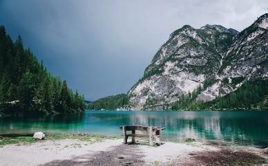Beautiful view of Lago di Braies or Pragser wildsee, Italy.