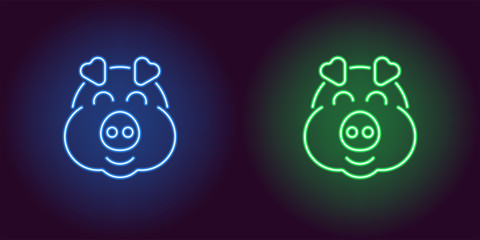 Neon piglet face in blue and green color