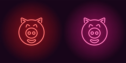 Neon piglet face in red and pink color
