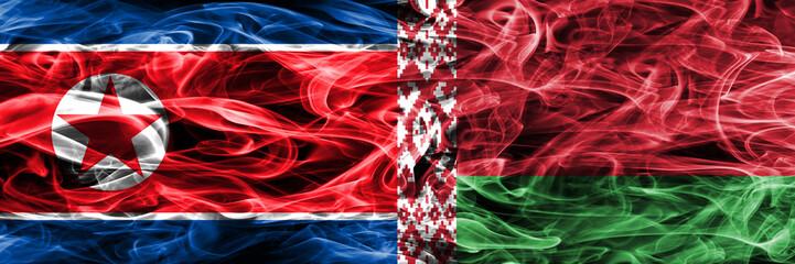 North Korea vs Belarus smoke flags placed side by side