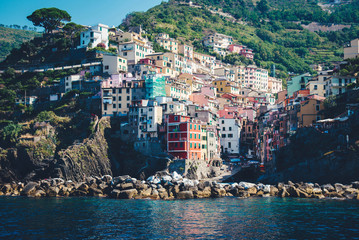 Scenic view of colorful village Riomaggiore.
