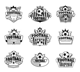 Successful football emblem club. Vector set logos illustration.