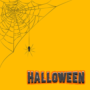 Corner decoration hanging spider web halloween vector illustration