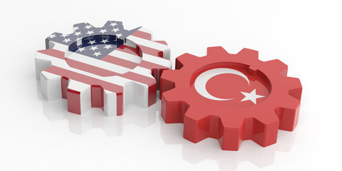 American and Turkish flags on gears, isolated on white background. 3d illustration