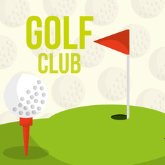 golf club course flag balls background vector illustration