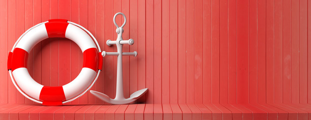Ship anchor and lifebuoy on red wooden floor and wall background, banner, copy space. 3d illustration