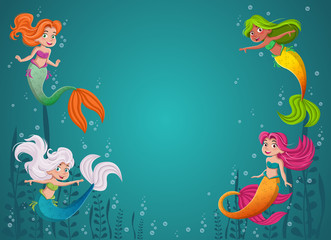 Cartoon mermaid princess with colorful hair. Mermaid children swimming.