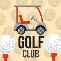 golf club car and balls equipment sport vector illustration vector illustration