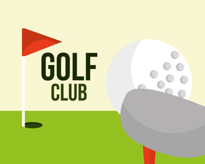 golf club ball and red flag field sport vector illustration vector illustration