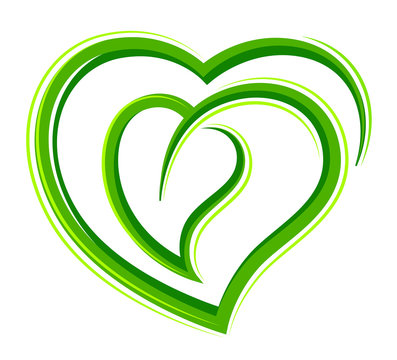 Stylized heart with a leaf on a white background