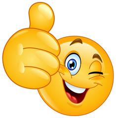 Thumb up winking emoticon