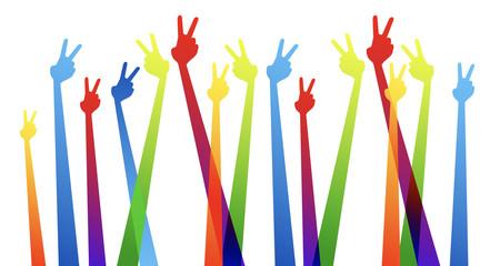 comunità, mani, dita, vittoria,