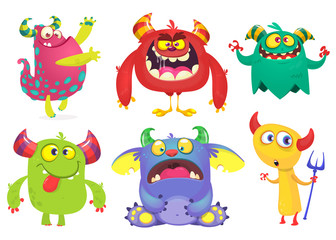 Photo sur Aluminium Creatures Cartoon Monsters collection. Vector set of cartoon monsters isolated. Ghost, troll, gremlin, goblin, devil and monster