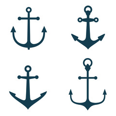 Vector illustration, vintage monochrome nautical anchor, set icons isolated on white background. Simple shape for design logo, badge, sign, symbol, emblem, label, stamp.