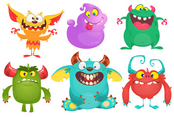 Cartoon Monsters collection. Vector set of cartoon monsters isolated. Design for print, party decoration, t-shirt, illustration,  emblem or sticker