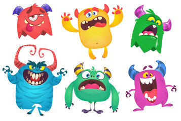 Photo sur Aluminium Creatures Cartoon Monsters. Vector set of cartoon monsters isolated. Design for print, party decoration, t-shirt, illustration, emblem or sticker
