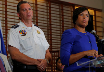 Washington D.C. Mayor Bowser and Metropolitan Police Chief Newsham answer questions from reporters in Washington