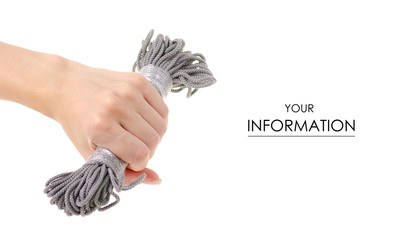 Gray rope in hand pattern on white background isolation