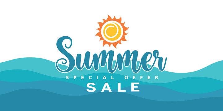 Summer sale special offer banner background.