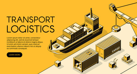 Fototapeta Maritime transport logistics vector illustration of thin line art in black isometric halftone. Ship cargo delivery or boat shipping containers and parcel boxes with loader crane on yellow background