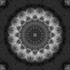Black and white halftone kaleidoscope pattern