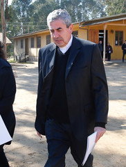 Bishop Santiago Silva, President of the Chile's Episcopal Conference, arrives at a news conference at Punta de Tralca