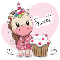Greeting card Cute Unicorn with cake