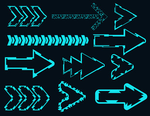Set of arrows in a futuristic style