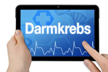 Tablet mit Diagnose Darmkrebs