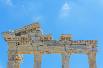 the ruins of the ancient Greek temple of Apollo. part of the facade and columns. Side, Turkey