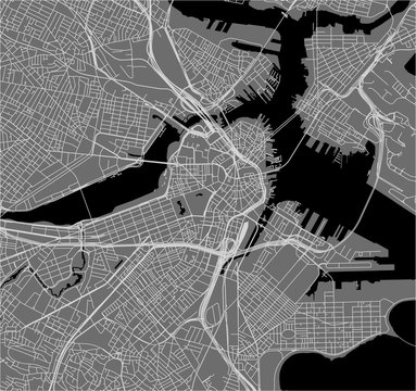 map of the city of Boston, USA