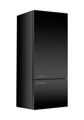 Black refrigerator with freezer on white background. Modern 3d fridge with door. Home kitchen electrical appliance.