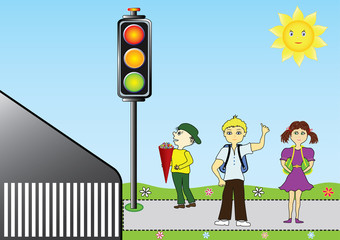 School children at a traffic light. The new school year, children go to school and well waiting on the sidewalk at a traffic light.Vector format and jpg.