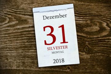 Abreißkalender Kalender mit Silvester Neujahr 2018 2019