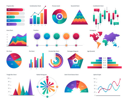 Modern Colorful Business Chart And Graph Infographic Elements Illustration In Isolated White Background
