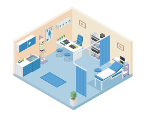 Modern Hospital Doctor Room Area Interior in Isometric View Illustration In Isolated White Background