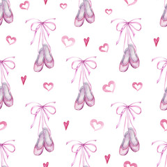 Watercolor hand painted seamless pattern of ballet slippers.