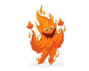 Cute Cheerful Fire Monster Cartoon Character Illustration