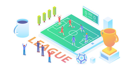 Modern Ultra HD World Soccer Championship Isometric Technology Background Wallpaper Concept Illustration